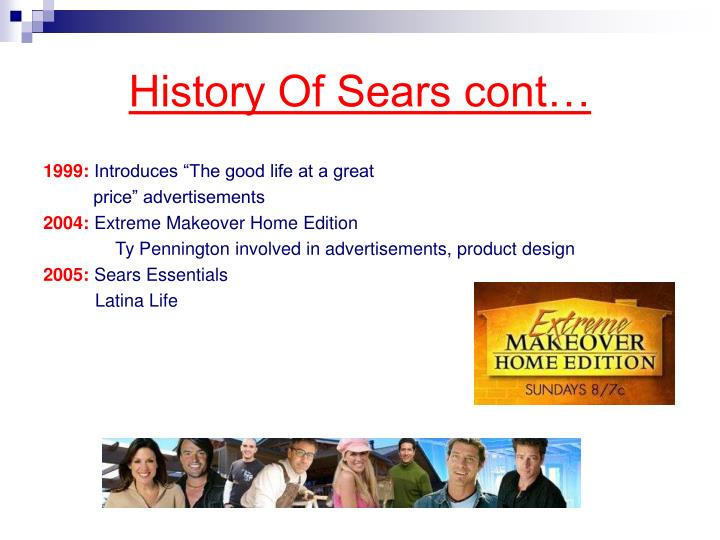 History of sears cont