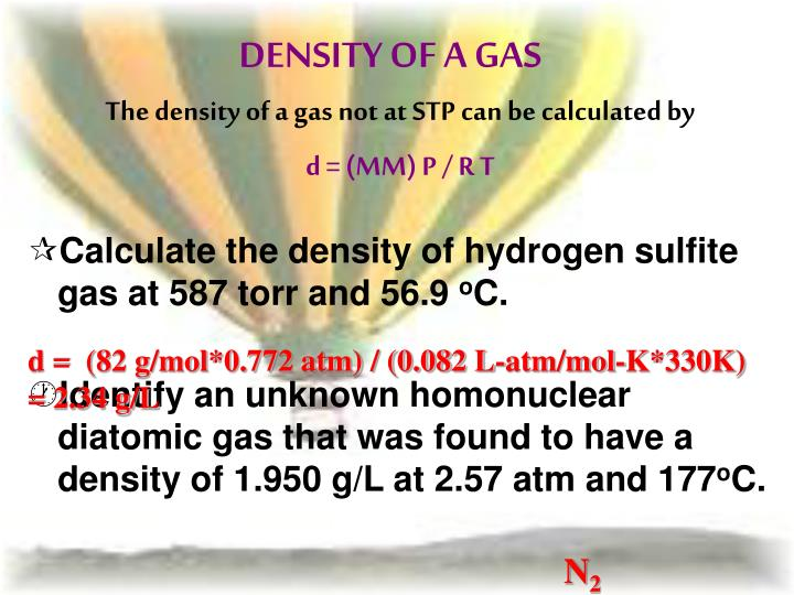 how to find density of a gas not at stp
