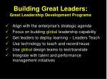 building great leaders great leadership development programs