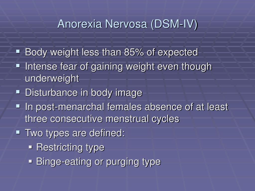 Anorexia Nervosa (DSM-IV)