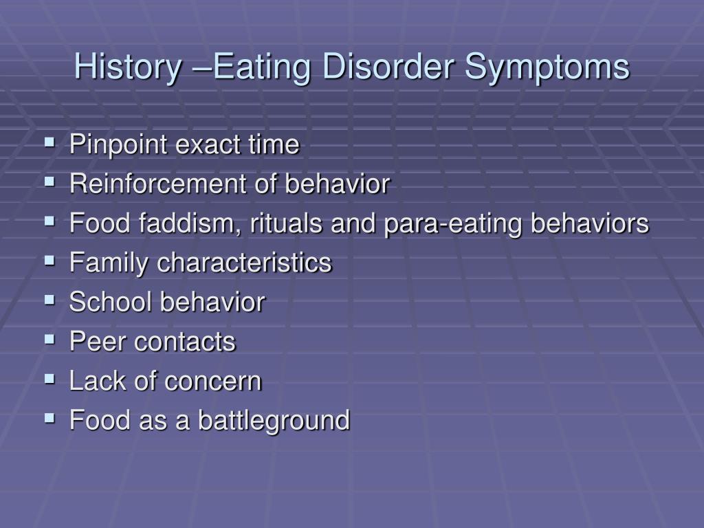 History –Eating Disorder Symptoms
