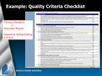 example quality criteria checklist