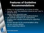 features of guideline recommendations