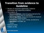 transition from evidence to guideline