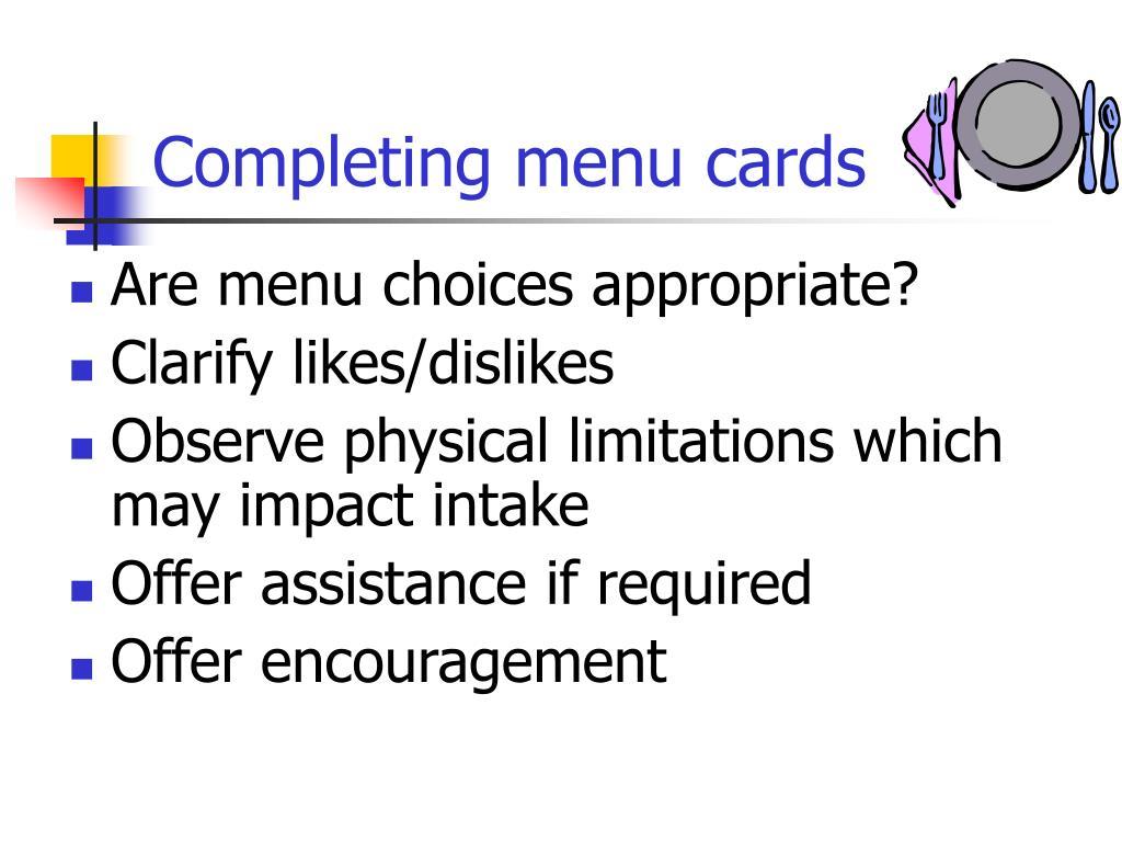 Completing menu cards