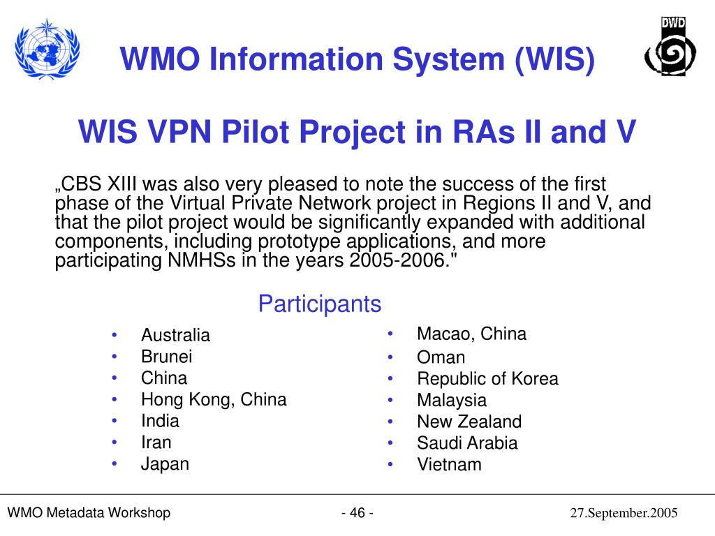 WIS VPN Pilot Project in RAs II and V