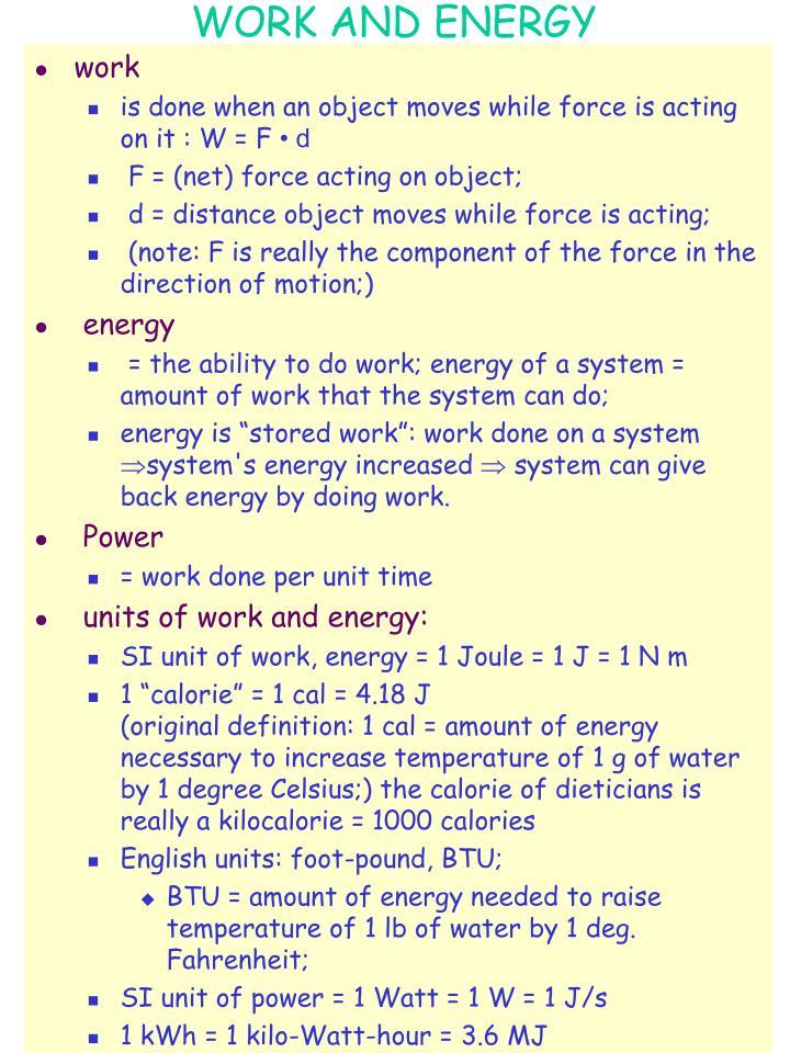 work and energy n.