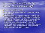 how familiar are you with the naplan tests and marking