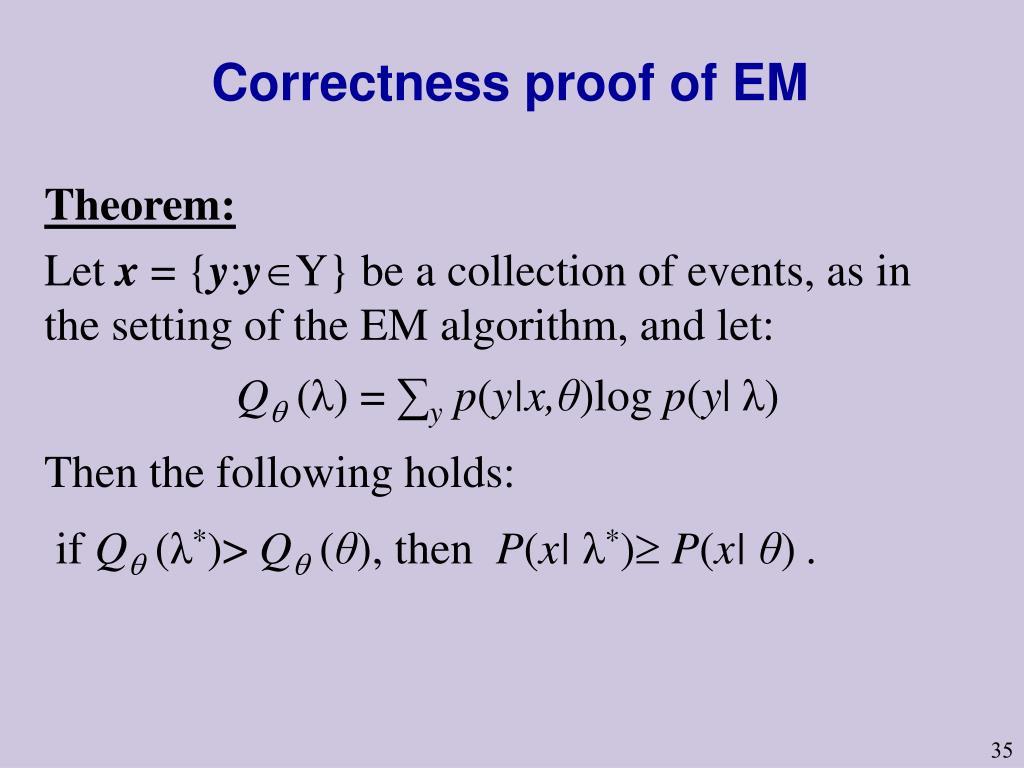 Correctness proof of EM