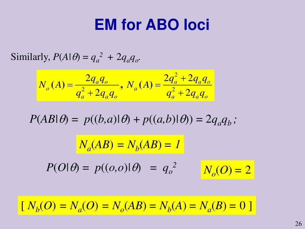 EM for ABO loci