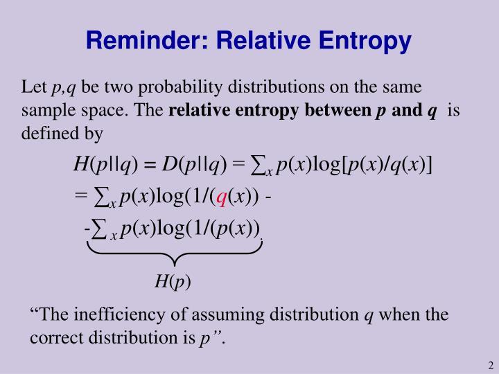 Reminder relative entropy