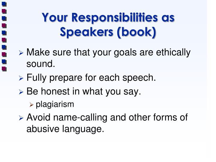 Your responsibilities as speakers book