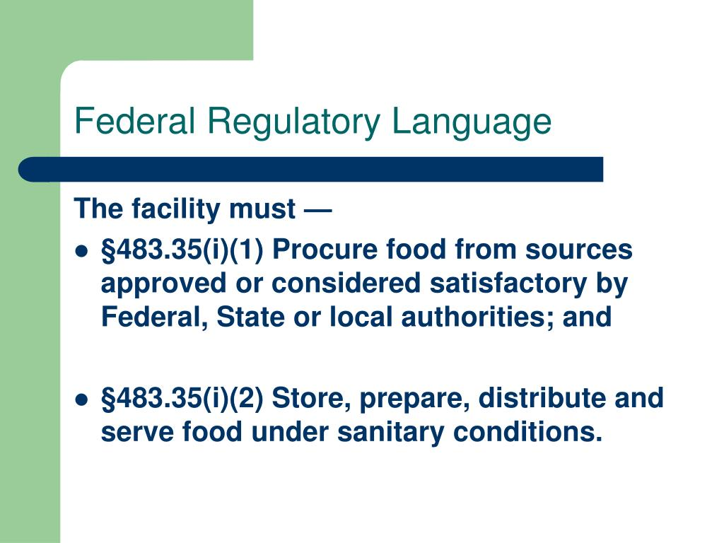 Federal Regulatory Language