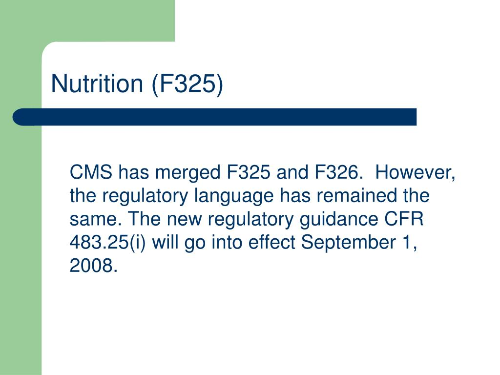 Nutrition (F325)