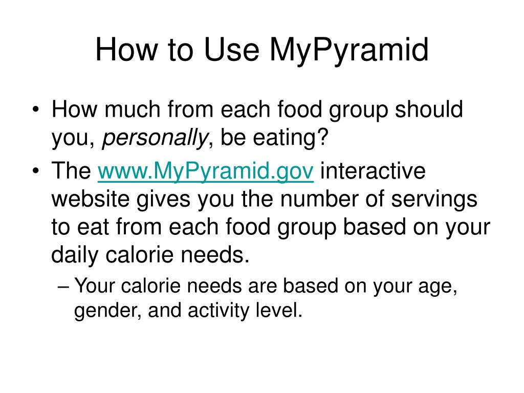 How to Use MyPyramid