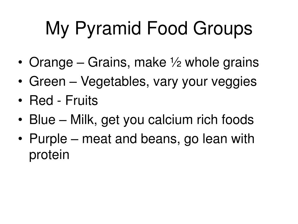 My Pyramid Food Groups