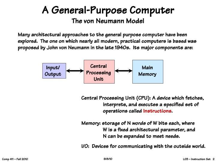 A general purpose computer the von neumann model
