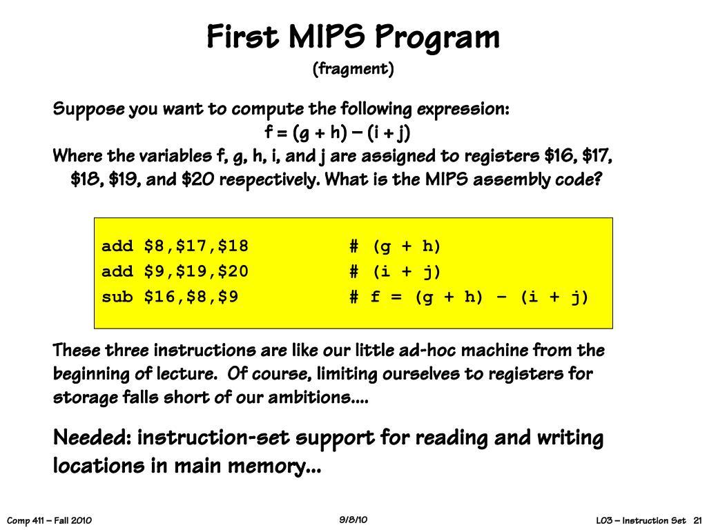 First MIPS Program