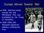europe moves toward war