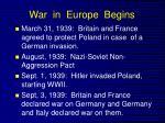 war in europe begins