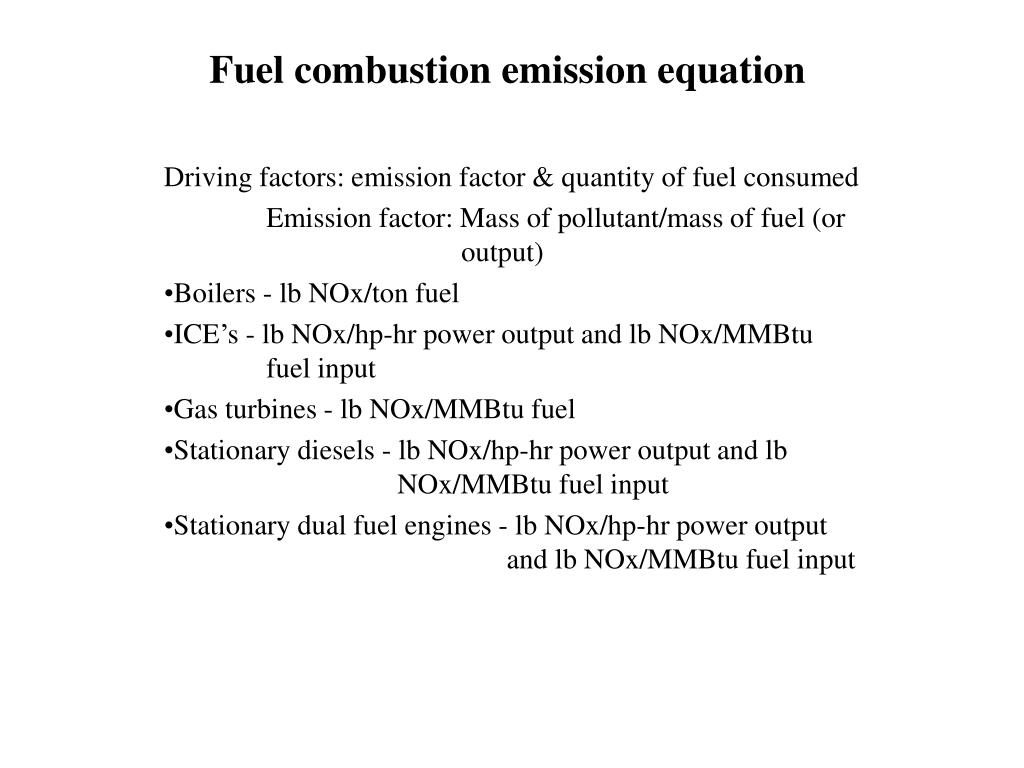 Fuel combustion emission equation