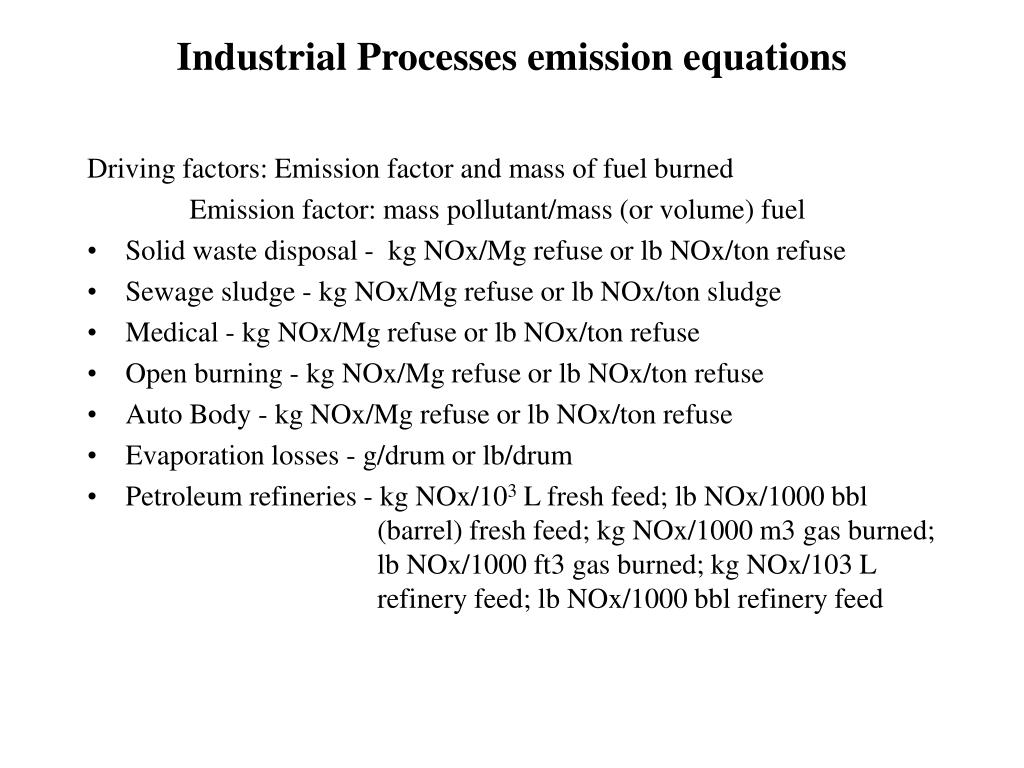 Industrial Processes emission equations