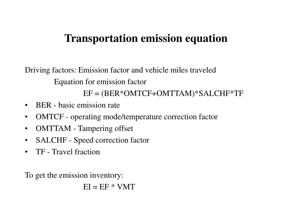 Transportation emission equation