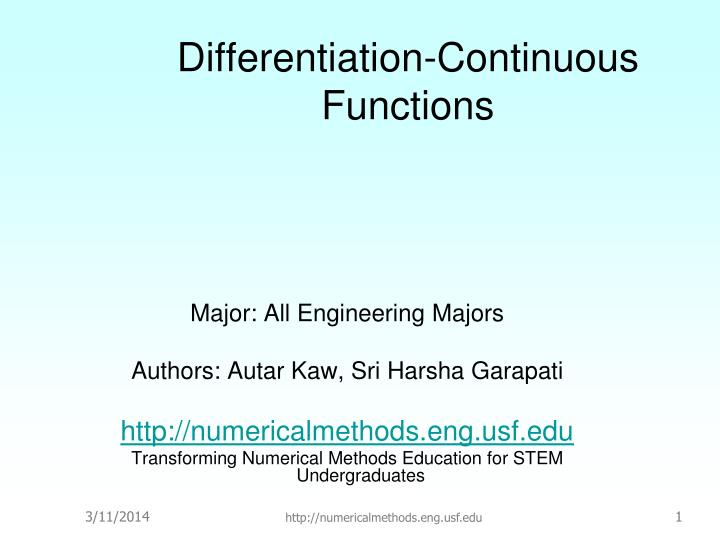 differentiation continuous functions n.