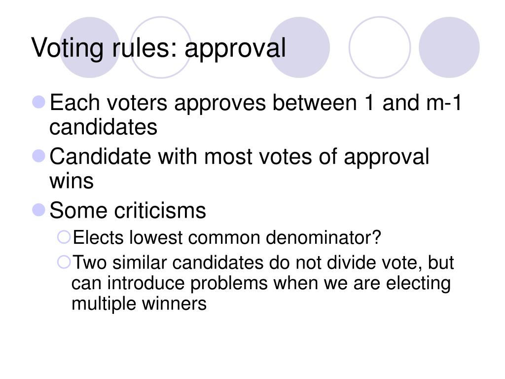 Voting rules: approval