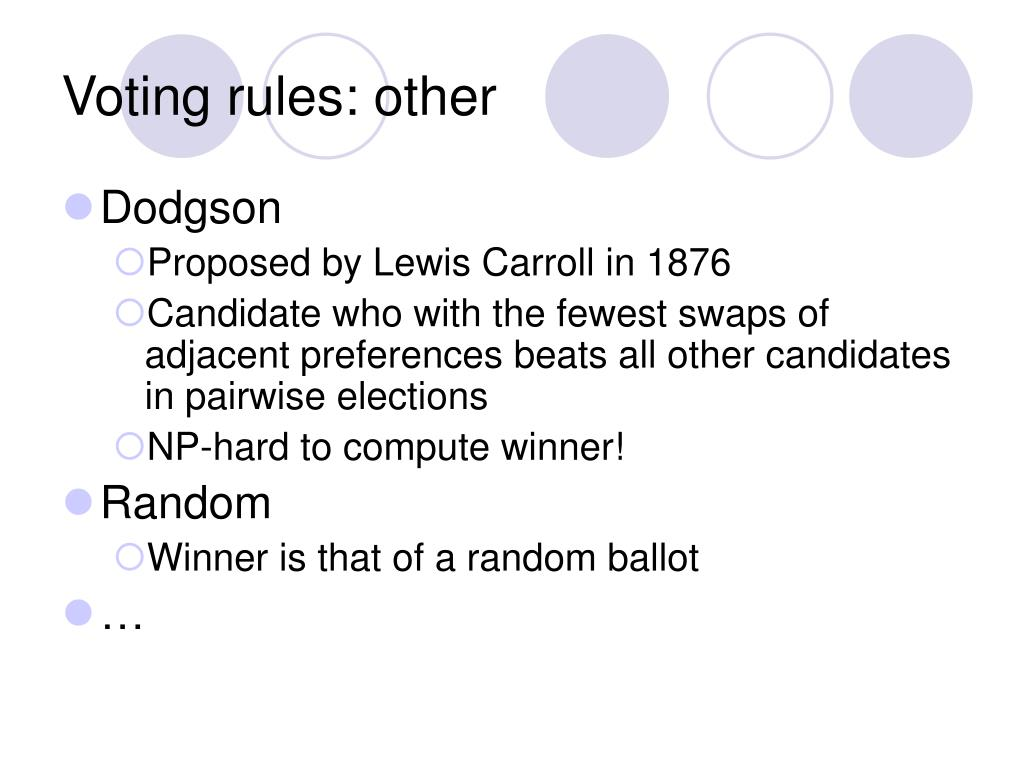 Voting rules: other