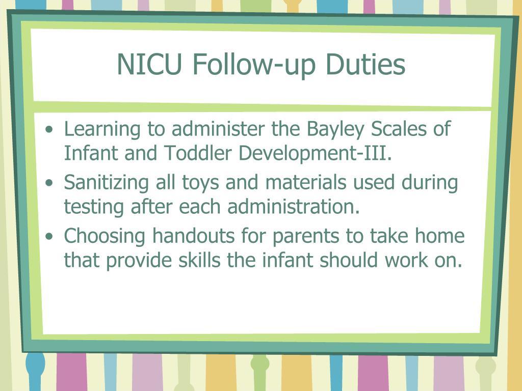 NICU Follow-up Duties