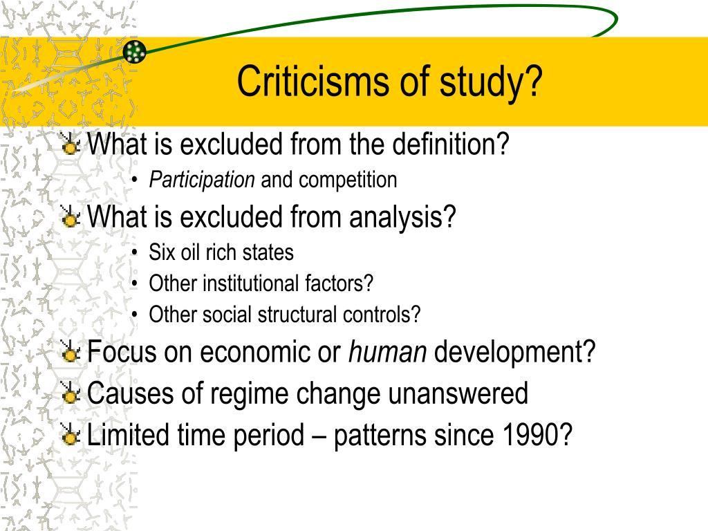 Criticisms of study?