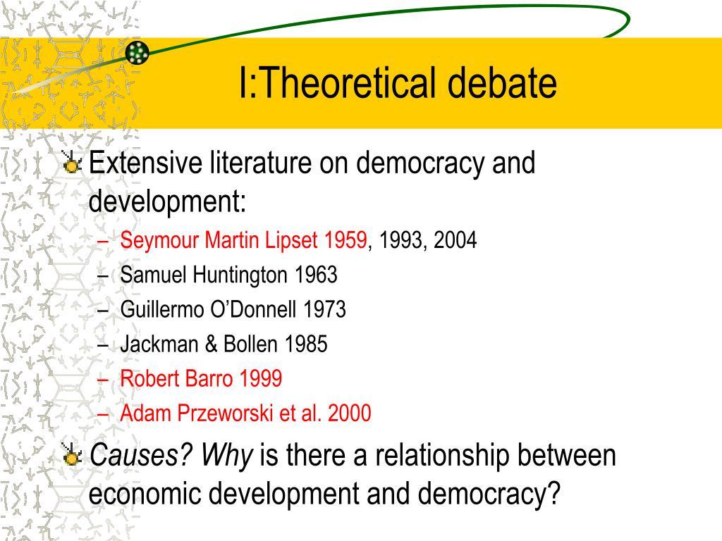 I:Theoretical debate
