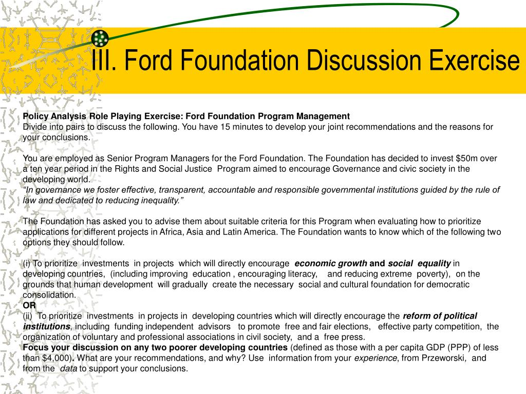 III. Ford Foundation Discussion Exercise