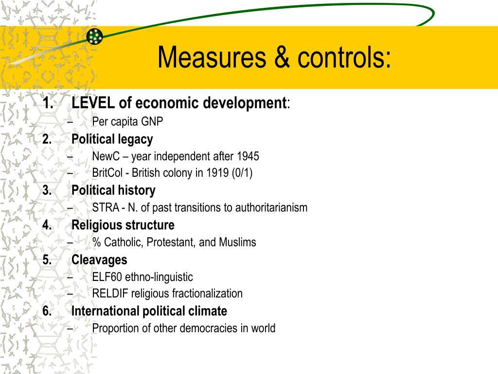 Measures & controls: