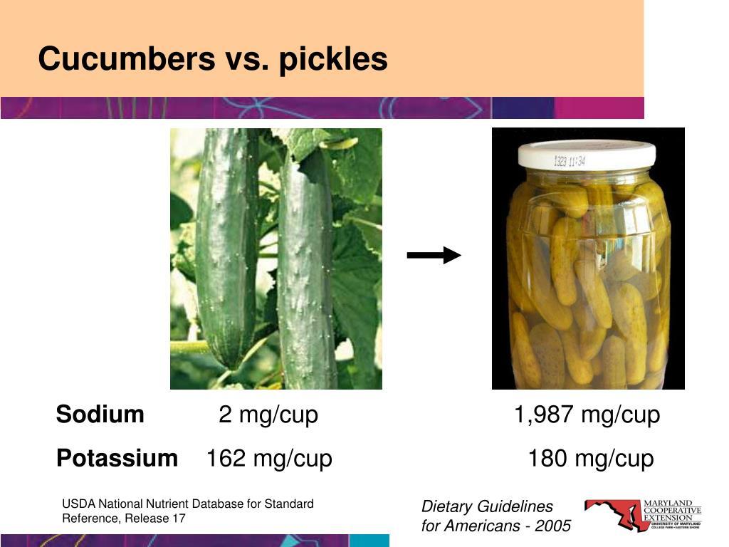 Cucumbers vs. pickles