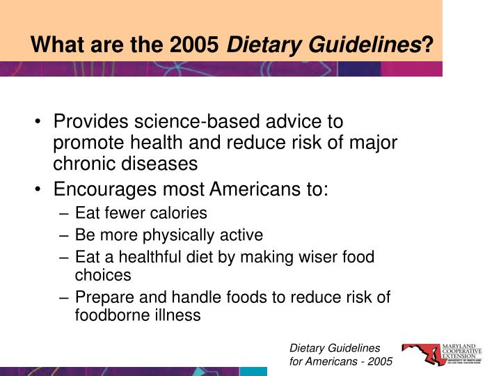 What are the 2005 dietary guidelines