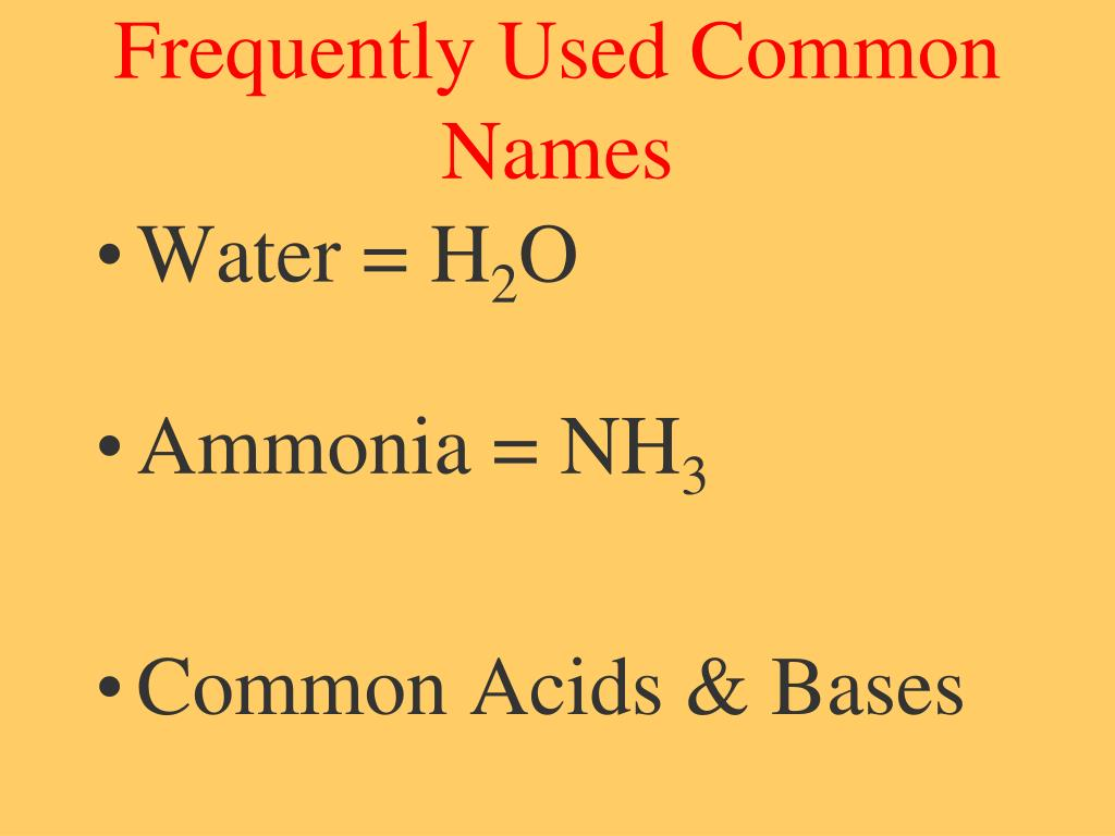 Frequently Used Common Names