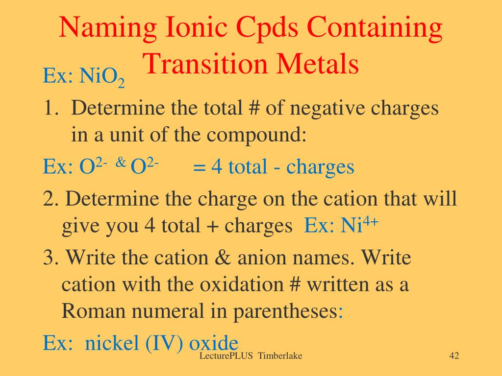 Naming Ionic Cpds Containing Transition Metals