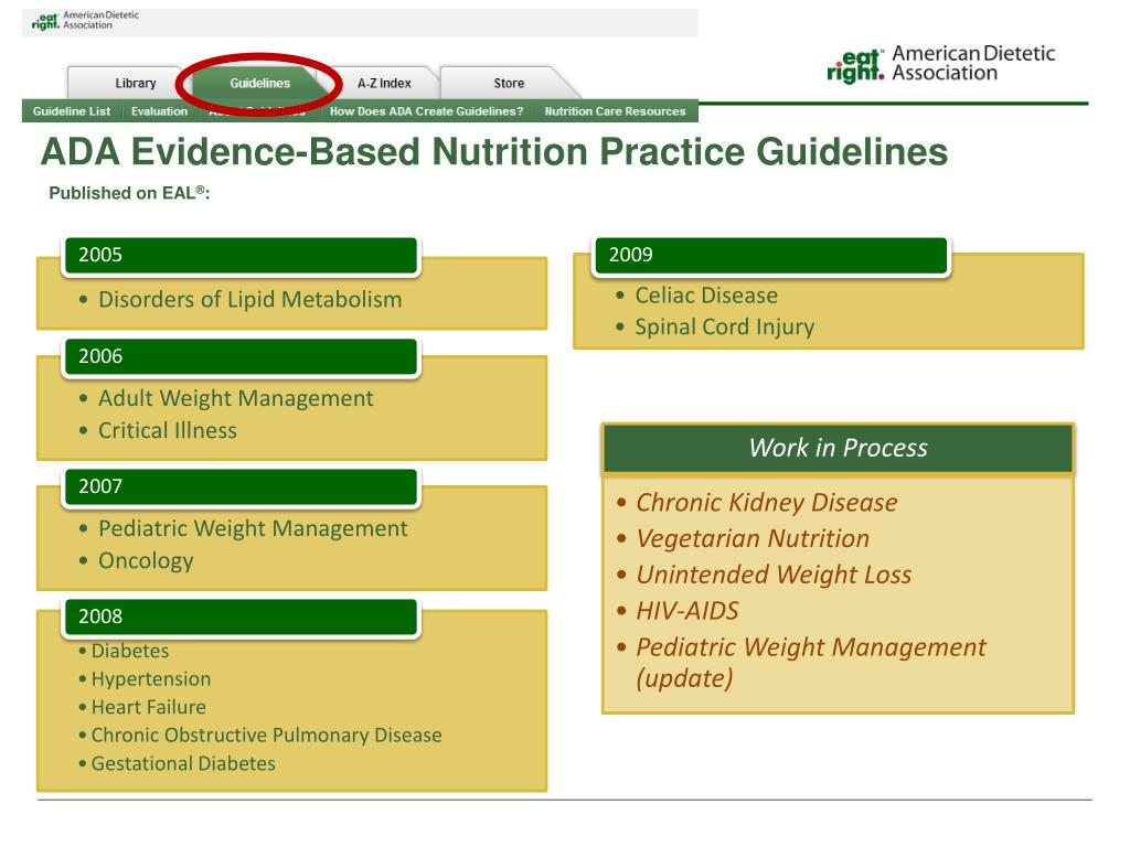 PPT - ADA's Evidence-Based Nutrition Practice Guidelines ...