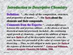 introduction to descriptive chemistry