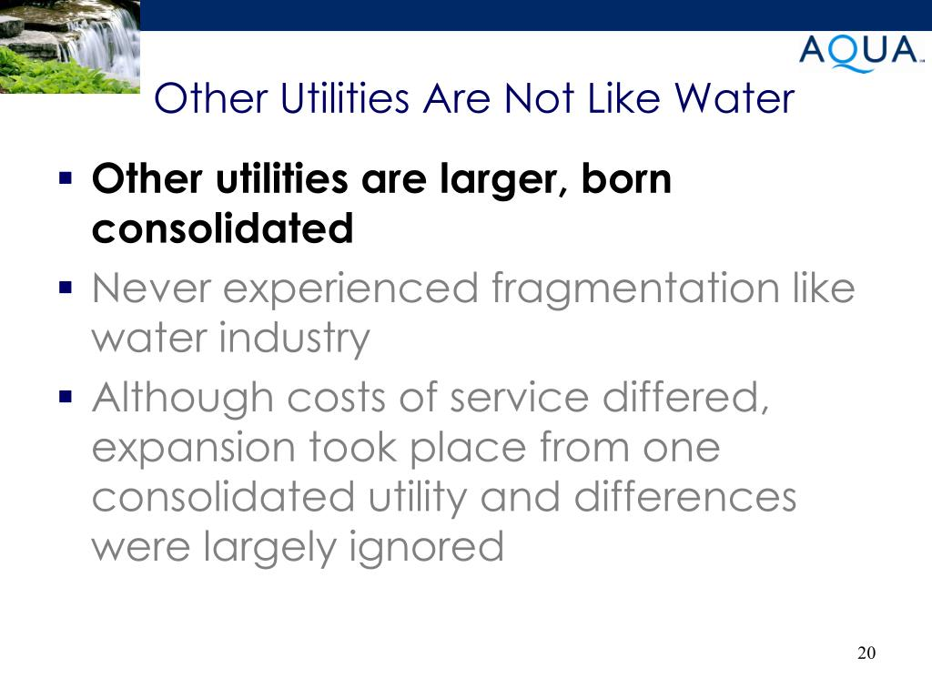 Other Utilities Are Not Like Water