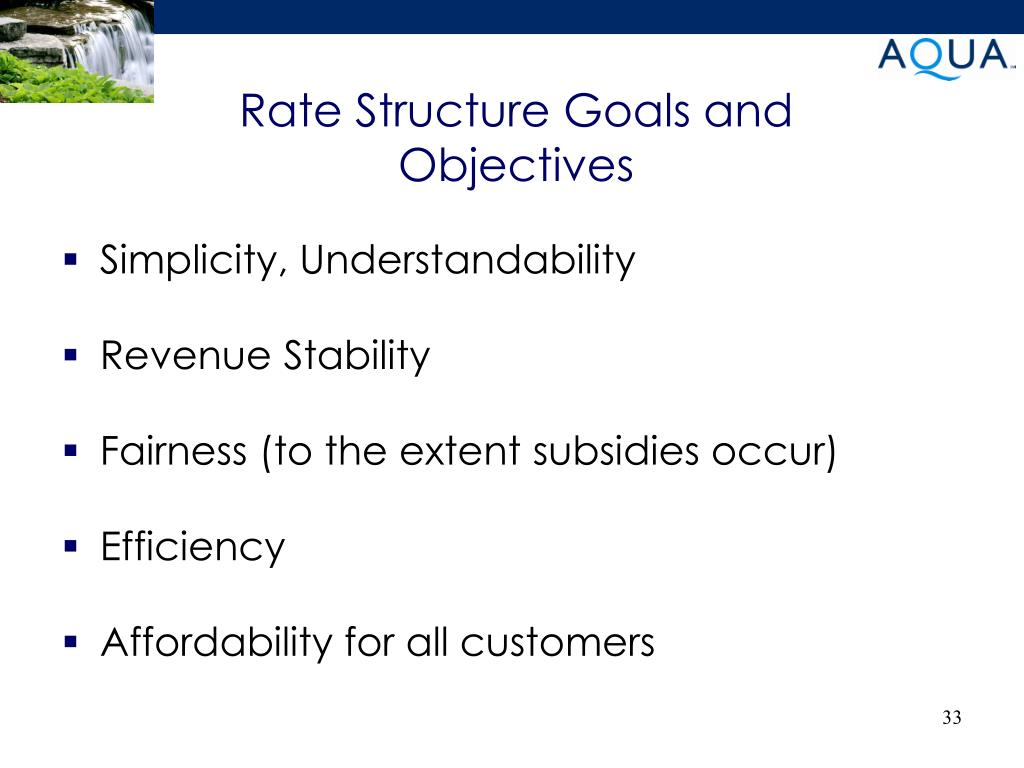 Rate Structure Goals and Objectives