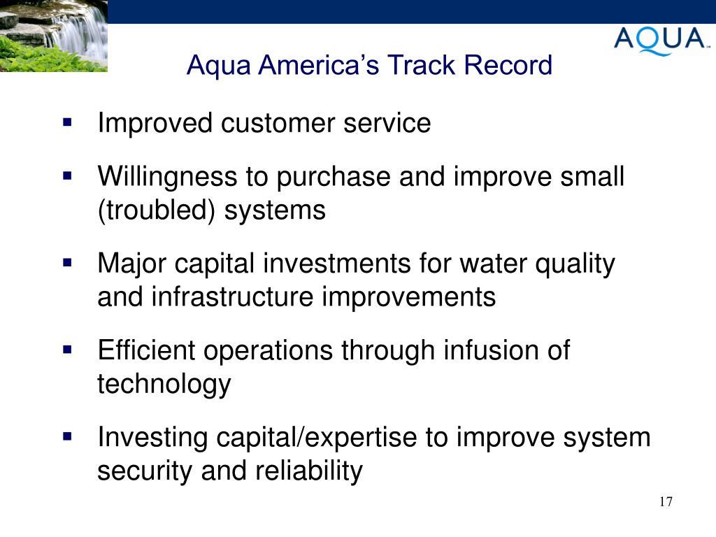 Aqua America's Track Record