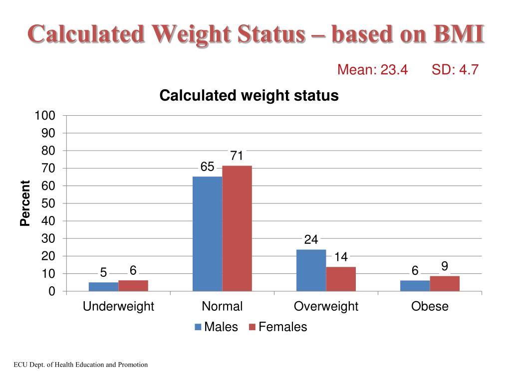 Calculated Weight Status – based on BMI