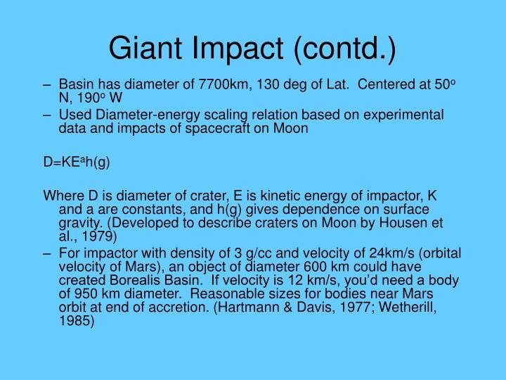 Giant Impact (contd.)