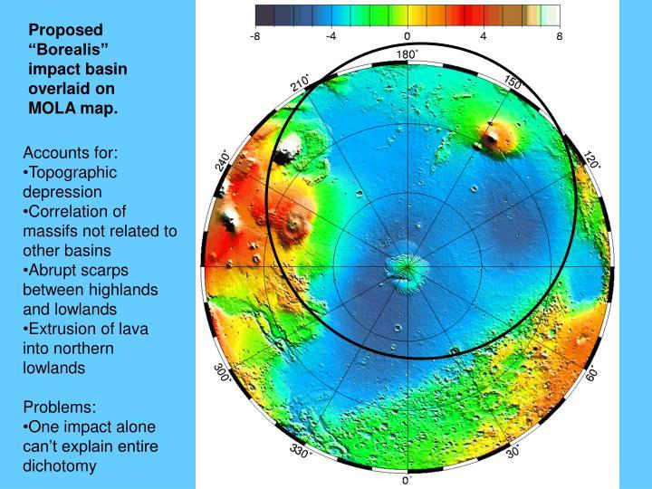 "Proposed ""Borealis"" impact basin overlaid on MOLA map."