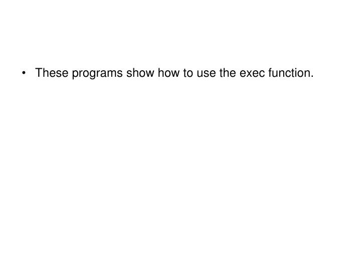These programs show how to use the exec function.