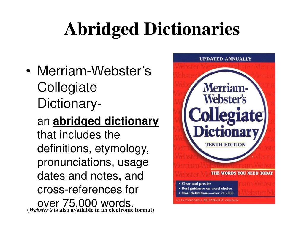 Abridged Dictionaries