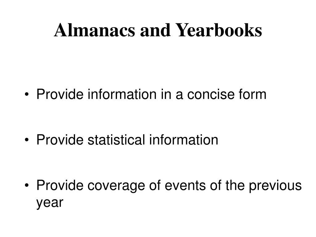 Almanacs and Yearbooks